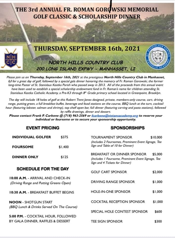 flyer for 2021 golf outing